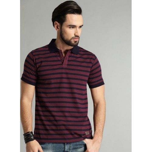 Roadster Maroon Striped Polo T-Shirts