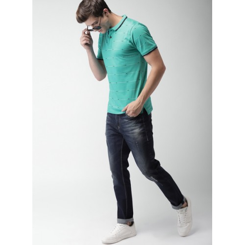 Mast & Harbour Green Printed Polo T-Shirts