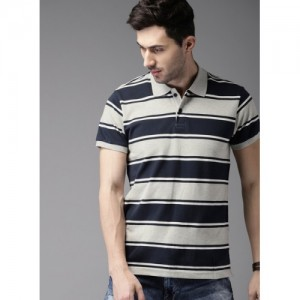 HERE&NOW Grey Melange Striped Polo T-Shirt
