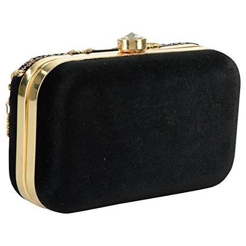 Tooba Black & Golden Velvet Sequence Necklace Box Clutch