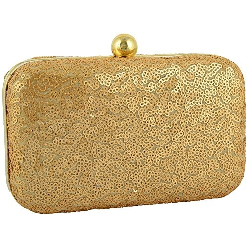 Tooba Handicraft Party Wear Hand Crafted Designer Box Clutch with Elegant Sequence & Golden Thread Work on Imported Velvet Texture Specially Designed for Women & Girls