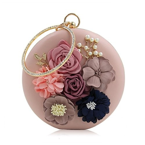 Paradox Rose Gold Satin PU Flowering Wedding Clutch