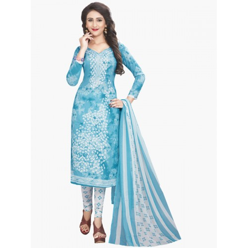 Ishin blue churidaar suit dress material