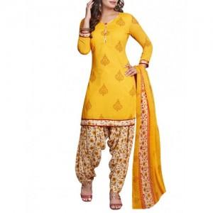 Ishin yellow crepe patiyala suits unstitched suit