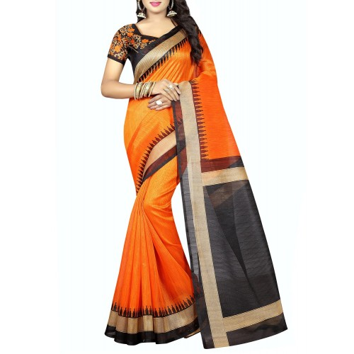ac2e56ee0 Buy Vedant Vastram orange silk blend bhagalpuri saree with blouse ...