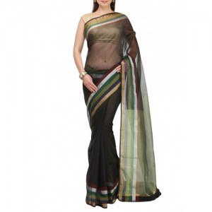 Bunkar black cotton blend bordered saree with blouse