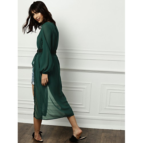 all about you from Deepika Padukone Women Green Solid A-Line Longline Top