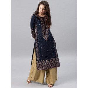 Vishudh Women Navy Blue Printed Straight Kurta