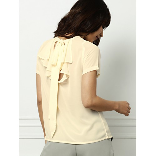 all about you from Deepika Padukone Women Peach-Coloured Solid Semi-Sheer Top