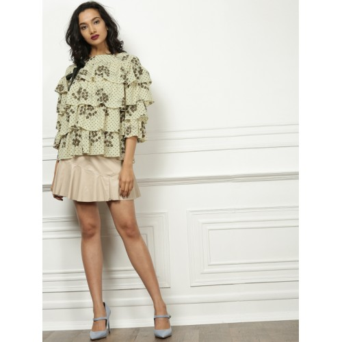 all about you from Deepika Padukone Women Beige Printed Tiered Top