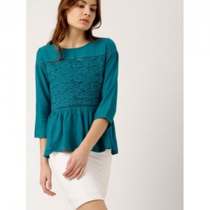 all about you from Deepika Padukone Teal Blue Self-Design Boxy Peplum Top