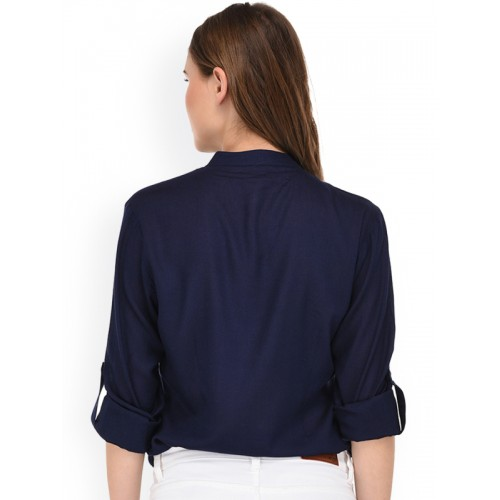 PURYS Women Navy Blue Smart Regular Fit Solid Casual Shirt