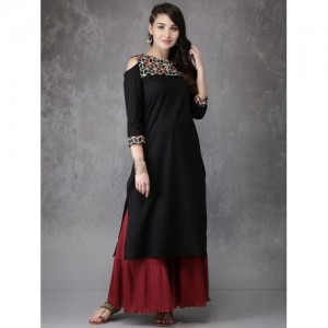 Anouk Black Cotton Yoke Design A-Line Kurta