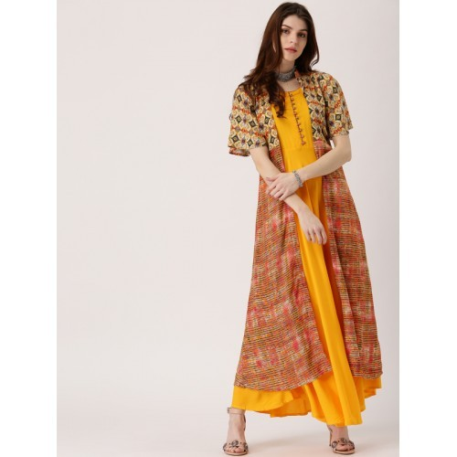 Libas Yellow Solid Flared Kurta with Printed Jacket