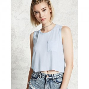 FOREVER 21 Women Blue Solid Crop Top