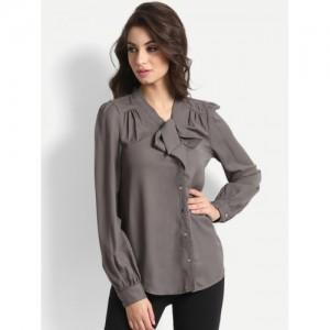 StalkBuyLove Women Grey Regular Fit Solid Casual Shirt