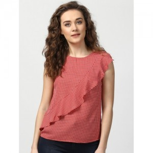 Harpa Casual Sleeveless Checkered Women's Red Top