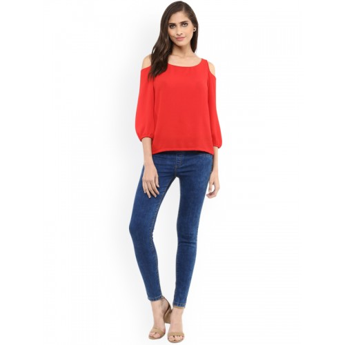 31a044132a7f8 Buy Pannkh Women Red Solid Cold-Shoulder Top online
