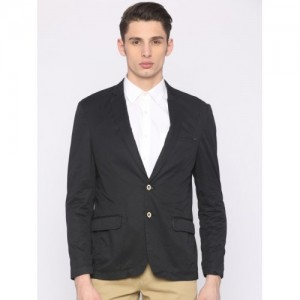Park Avenue Men Black Slim Fit Solid Casual Blazer