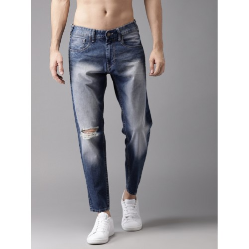 Moda Rapido Men Blue Slim Fit Ankle Length Mid-Rise Mildly Distressed Jeans