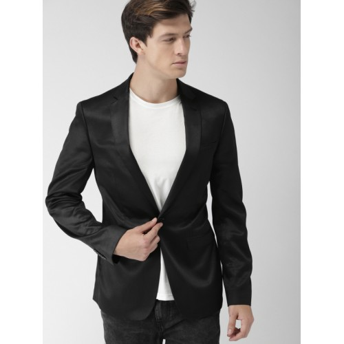Mast & Harbour Black Solid Regular Fit Single-Breasted Casual Blazer