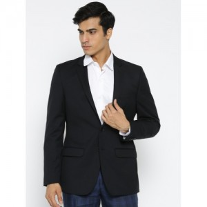 Raymond Black Tailored Contemporary Fit Single-Breasted Formal Blazer
