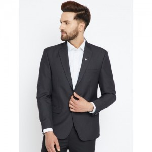 Canary London Black Self-Design Single-Breasted Slim Fit Casual Blazer