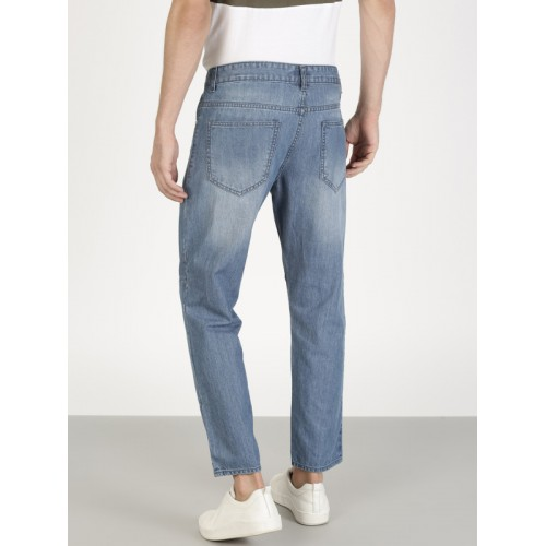 ether Men Blue Carrot Cropped Fit Mid-Rise Jeans with Cut n Sew Panel Detail