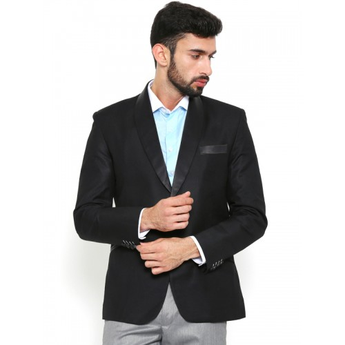 Shaftesbury London Black Regular Fit Single-Breasted Party Blazer