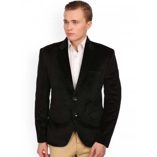 25244a0b7ff6 ... Wintage Men Black Single-Breasted Velvet Tailored Fit Party Blazer ...