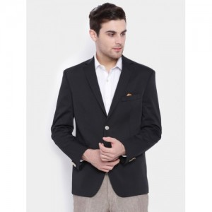 SUITLTD Black Solid Regular Fit Single-Breasted Formal Blazer