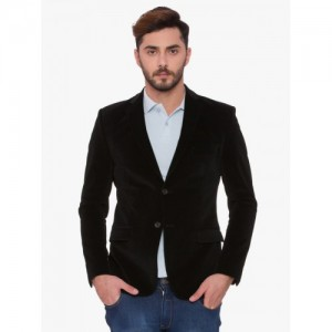 SUITLTD Black Single-Breasted Slim Fit Corduroy Casual Blazer