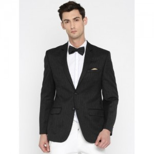 Park Avenue Black Striped Slim Fit Single-Breasted Formal Blazer