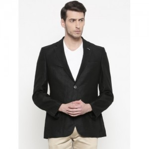 Raymond Black Linen Solid Tailored Contemporary Fit Formal Blazer