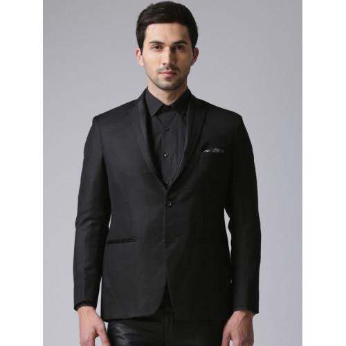 True Blue Black Single-Breasted Slim Fit Formal Blazer