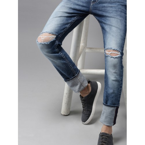 Moda Rapido Men Blue Skinny Fit Mid-Rise Mildly Distressed Stretchable Jeans
