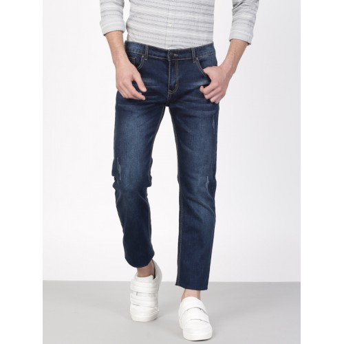 ether Men Blue Skinny Fit Mid-Rise Low Distress Stretchable Jeans