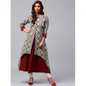 Jaipur Kurti Maroon & Brown Printed Layered A-Line Kurta