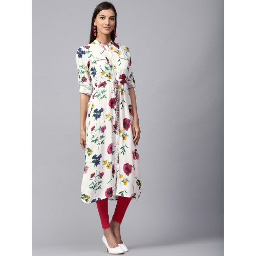 Jaipur Kurti Women White & Pink Floral Print Straight Kurta