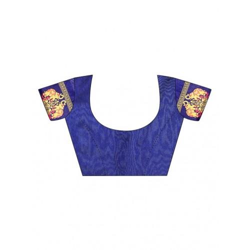 Aaradhya Fashion maroon cotton silk bordered saree with blouse