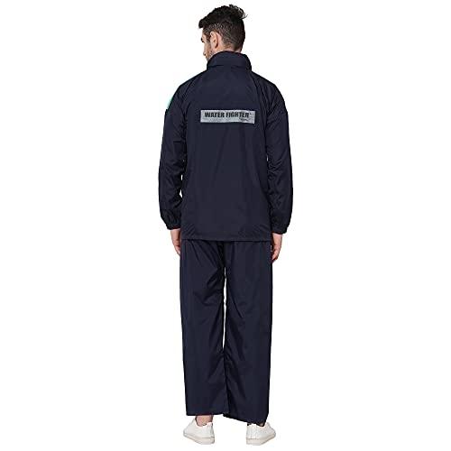 ZEEL Men's Raincoat with Hood, Water Fighter-Rain Coat, Waterproof Pant and Carrying Pouch (Navy-Green, XXL).