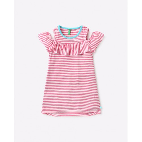 UNITED COLORS OF BENETTON Striped A-Line Dress with Cold Shoulders