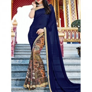 shaily blue georgette half and saree with blouse