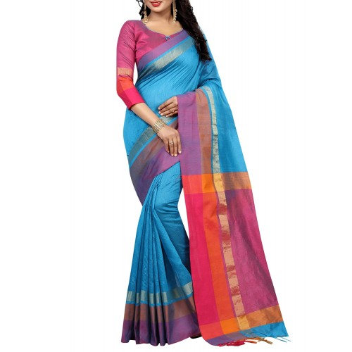 ad6a3057ff ... Shopping Women sky blue cotton bhagalpuri saree with blouse ...