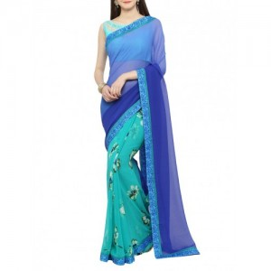 shaily Blue half and half saree with blouse