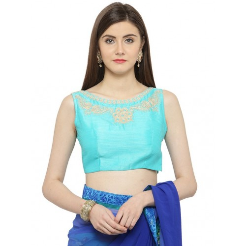 shaily Blue Georgette half and half saree with blouse