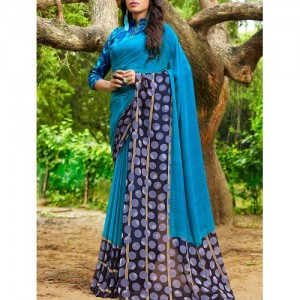 shaily blue georgette printed saree with blouse