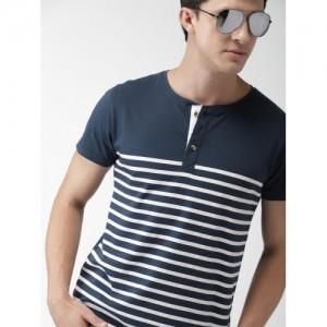 Mast & Harbour Men Navy Blue & White Striped Henley Neck T-shirt