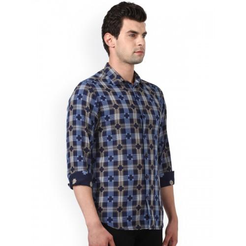 ColorPlus Men Navy Blue & Multicoloured Regular Fit Printed Casual Shirt