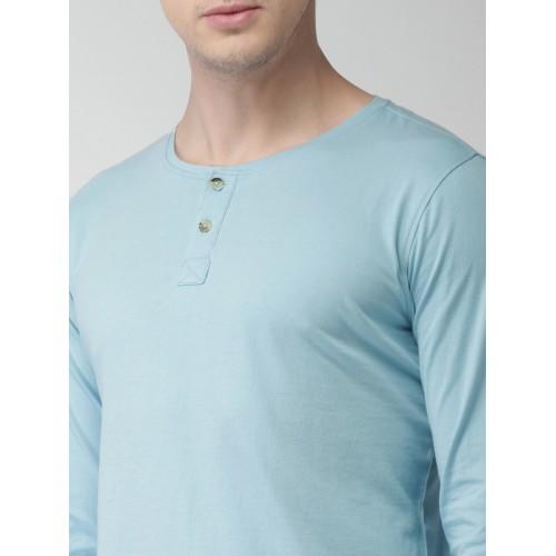 Mast & Harbour Men Blue Solid Henley Neck T-shirt
